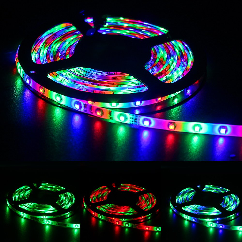 KORJO 16.4ft/5M Led Strip Lights 300 LEDs 3528 Chase Effect RGB Rope Light Kit with 12V Power Supply & 44 Key Remote Controller Waterproof Light Strip for Home, Garden