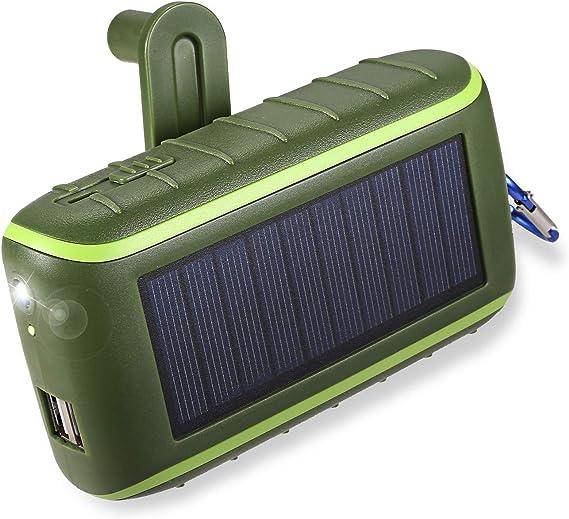 Cargador solar, banco de la energía solar del cargador del teléfono de la manivela 10000mAh: Amazon.es: Electrónica