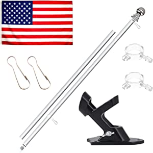 KOOV Flag Pole Kit - 6ft Aluminum Flag Pole Bracket for House, Heavy Duty Flag Pole with Free Flag for Garden Street Truck Boat Commercial