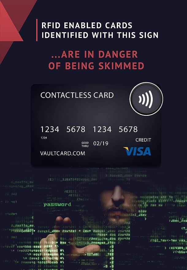 VAULTCARD - RFID Blocking/ Bloqueo RFID para tarjeta de crédito y débito/ Protección NFC para su billetera y pasaporte / Protege varias tarjetas al ...