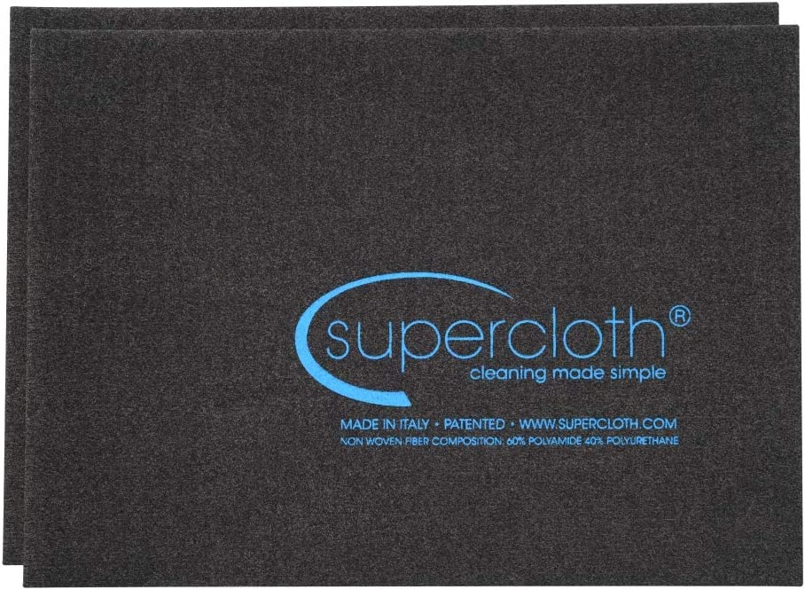 Supercloth - Streak Free, Chemical Free Glass Cleaner & Dusting Cloth. Perfect for Home, Office, Car or Truck. World Famous Household Cleaning Cloth - Full Size, 2 Pack (5pk, 10pk Also Available)