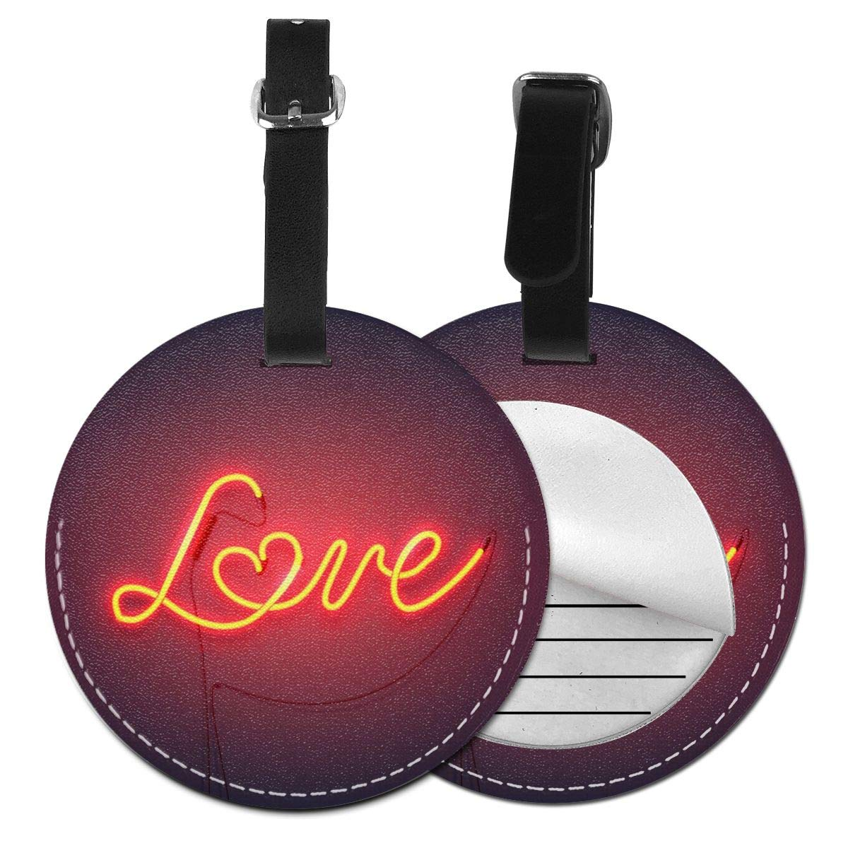 Love On A Dark Background Luggage Tags Leather Case Luggage Bag Backpacks Tags Travel Tags 4 Pack by Rachel Dora