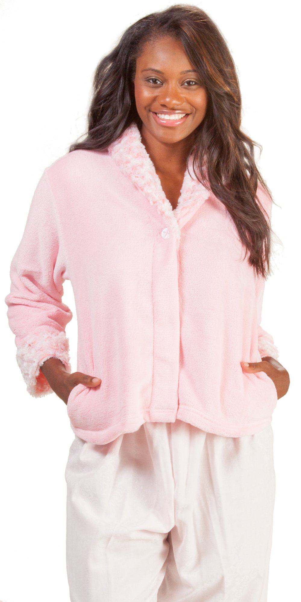 Kayanna Pink Cozy Fleece Bed Jackets Swirl Shawl Collar In Pink (Medium (10-12), Pink)