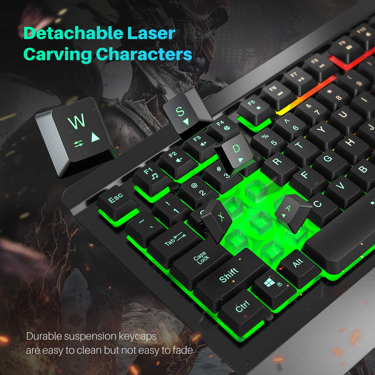 VicTsing Gaming Keyboard Mouse Combo, Ultra-Slim Rainbow LED Backlit Keyboard with Ergonomic Wrist Rest, Programmable 6 Button Mouse for Windows PC Gamer, Spill-Resistant Design - Black by VicTsing (Image #3)