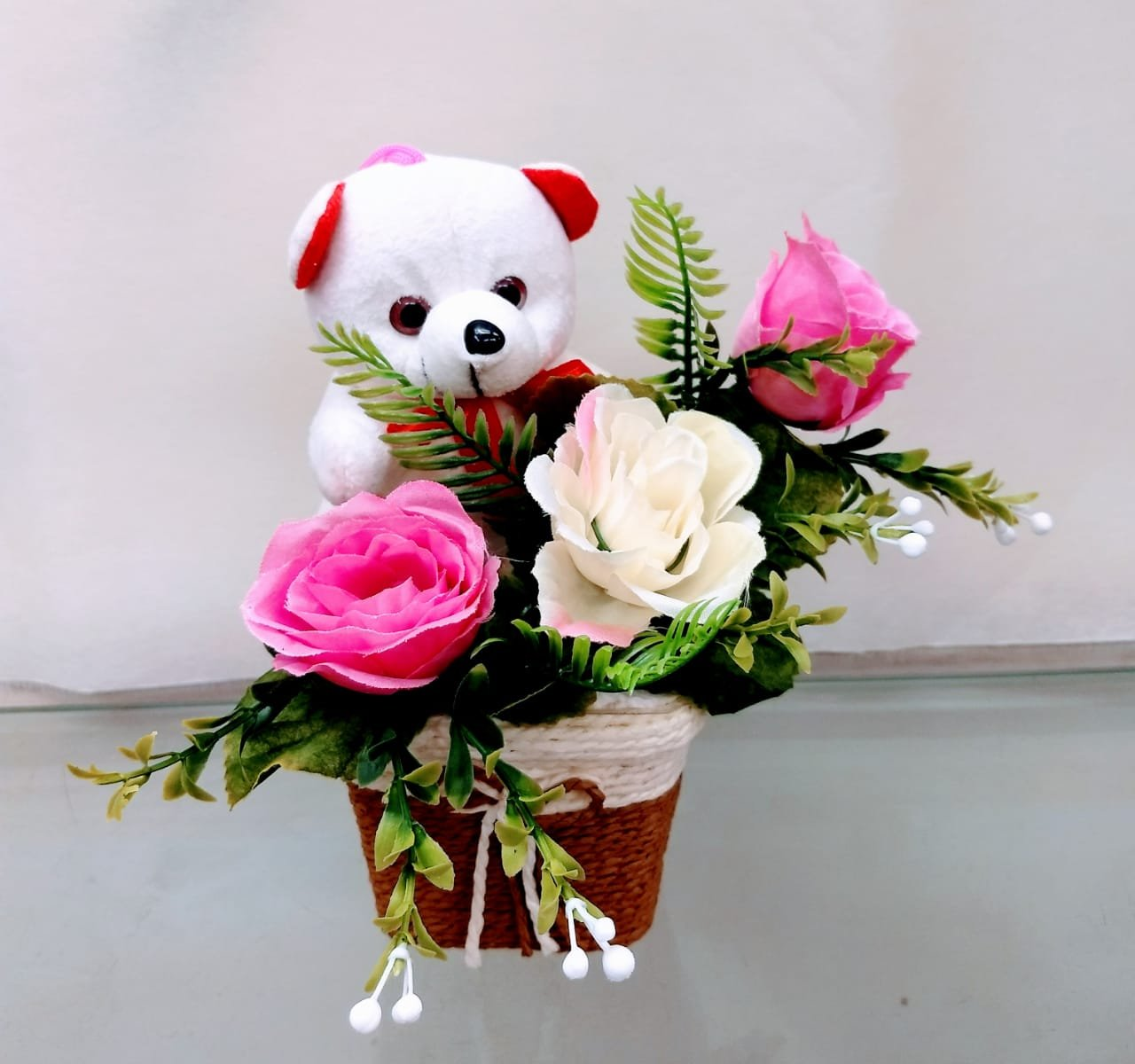 Just Flowers Cute Teddy with Roses Bouquet Small