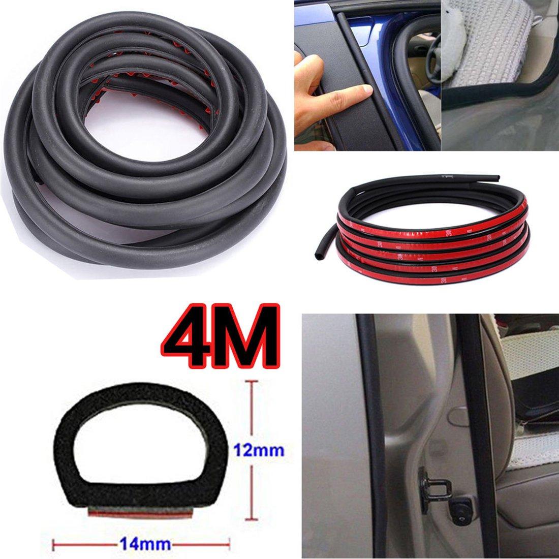 Warehouseshop WSS - Tira de goma de PVC para puerta de coche, 4 m x 12 mm x 14 mm, selladora, protecció n de la puerta, para interior y exterior protección de la puerta