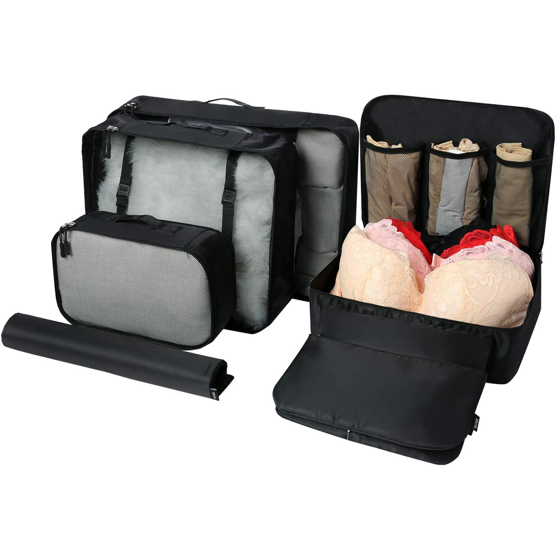 Eono Essentials 7-Stück Leichte Gepäckverpackungsorganisatoren Packwürfel für Reisezubehör Beige