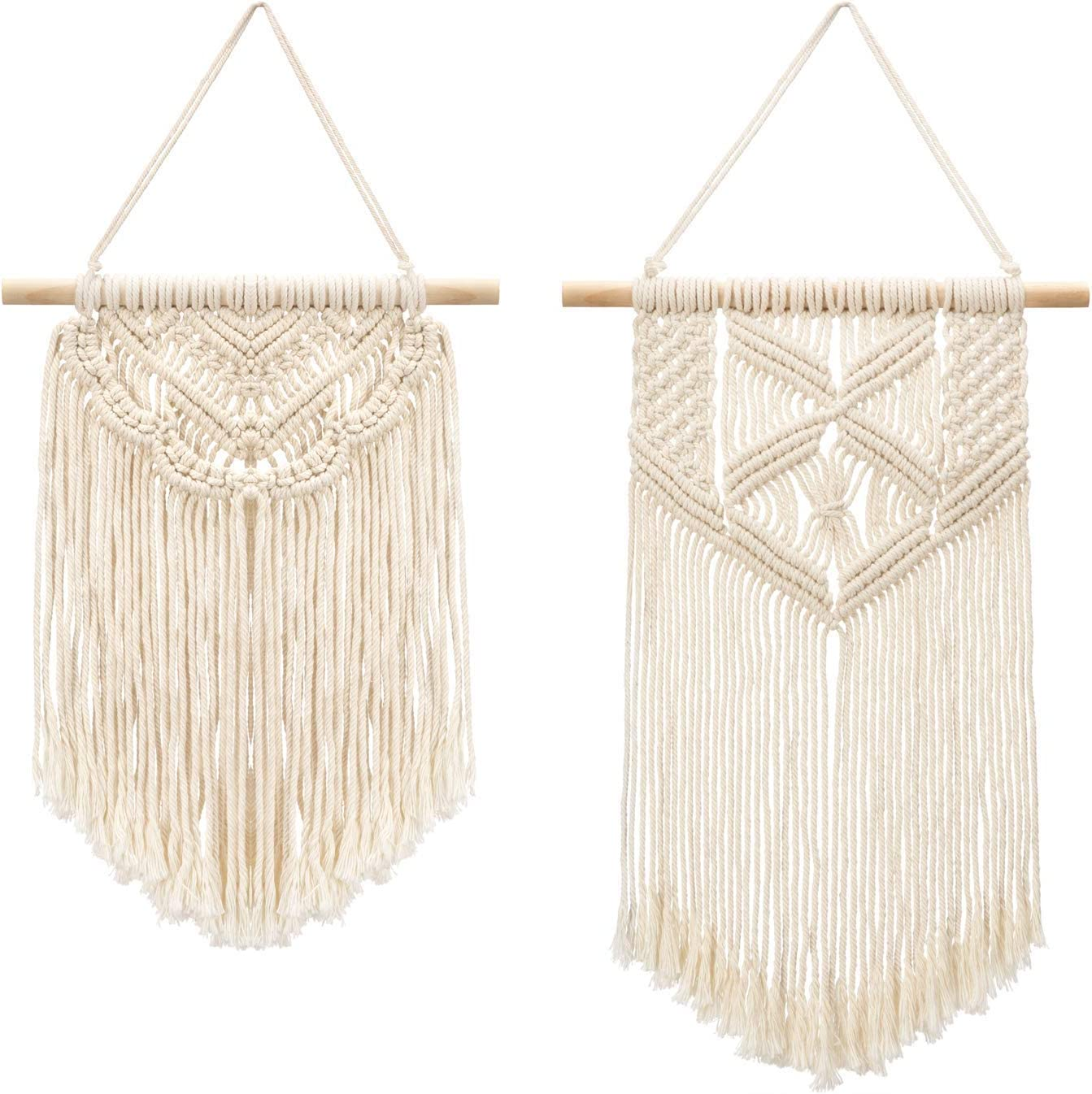 Mkouo 2 Pcs Macramé Colgar en la Pared Small Tapiz de Arte Tejido Boho Chic Home Decor Apartment Dorm Room Decoration, 30cm (L) x 25cm (W) and 40cm (L) x 25cm (W)