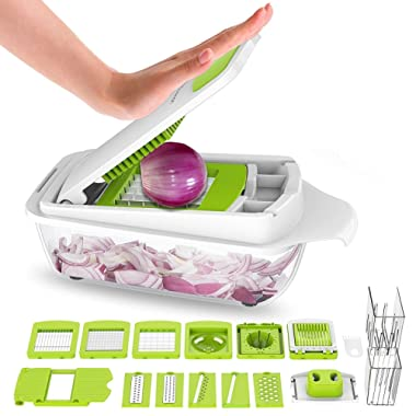 Vegetable Chopper Dicer Slicer Cutter-Fruit & Vegetable Tools,Lovkitchen Slicers for Fruits and Vegetables/Onion Salad Adjustable Stainless Steel Mandoline Food Salad Chopper