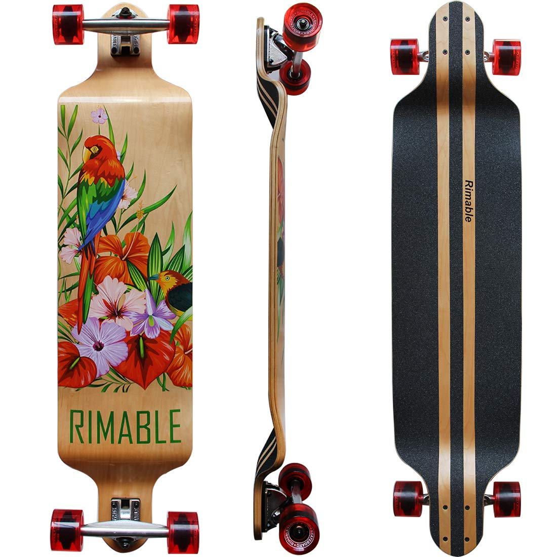 RIMABLE Canadian Maple Drop Deck Longboard TRANSPARENTRED