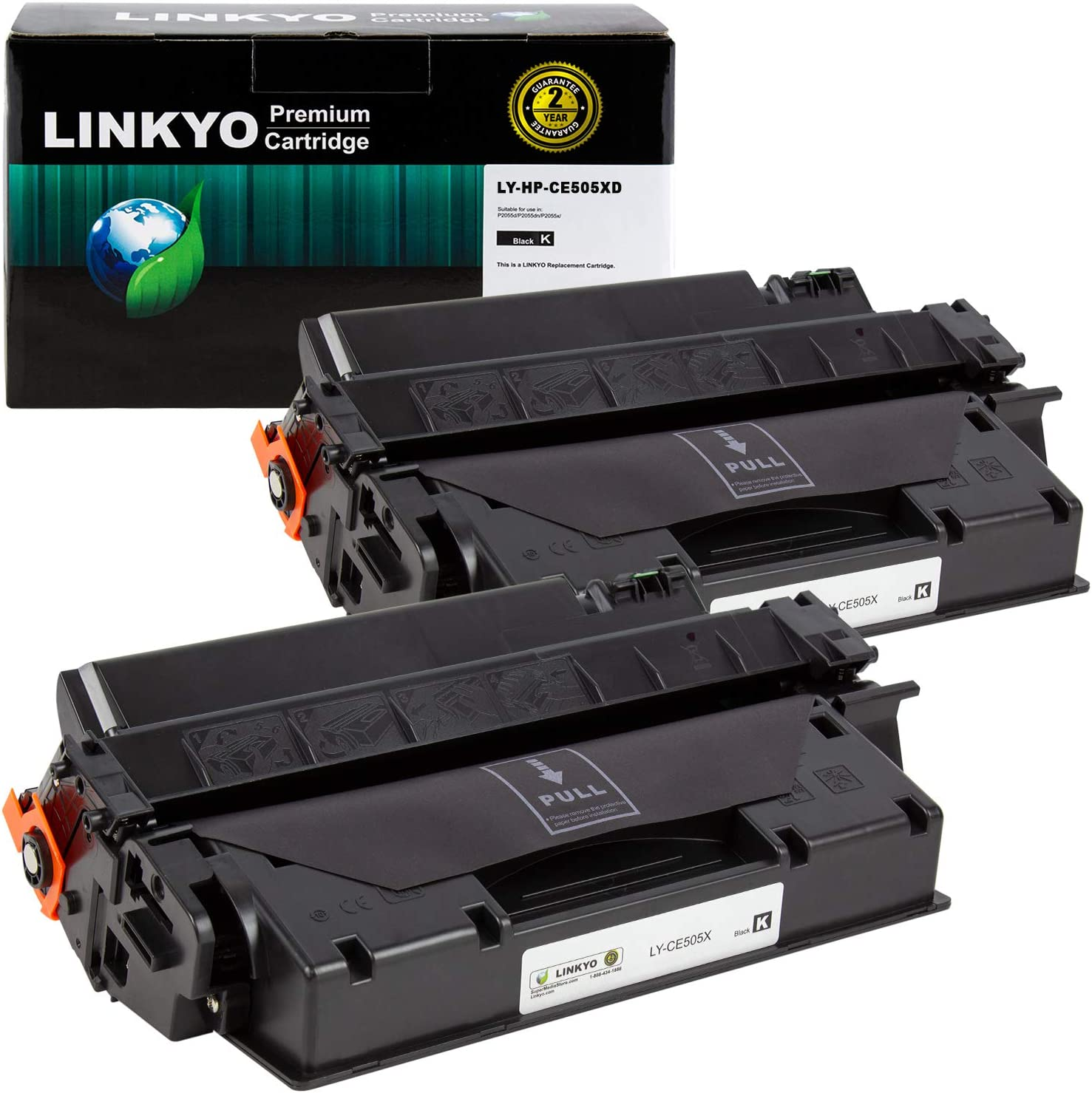 LINKYO Compatible Toner Cartridge Replacement for HP 05X CE505X (Black, High Yield, 2-Pack)