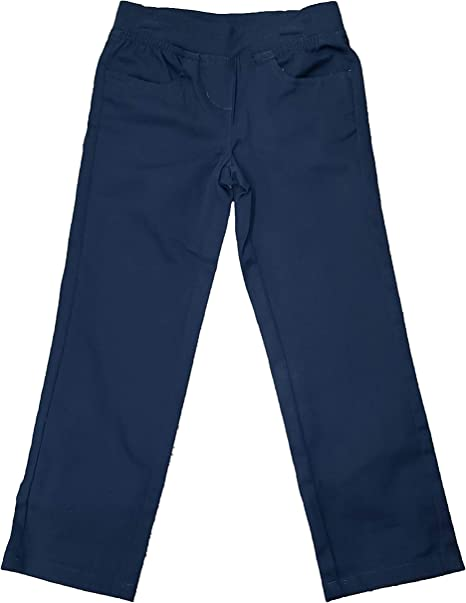 Wonder Nation Girls Khaki School Uniform Stretch Twill Pull-On Straight Fit Pant