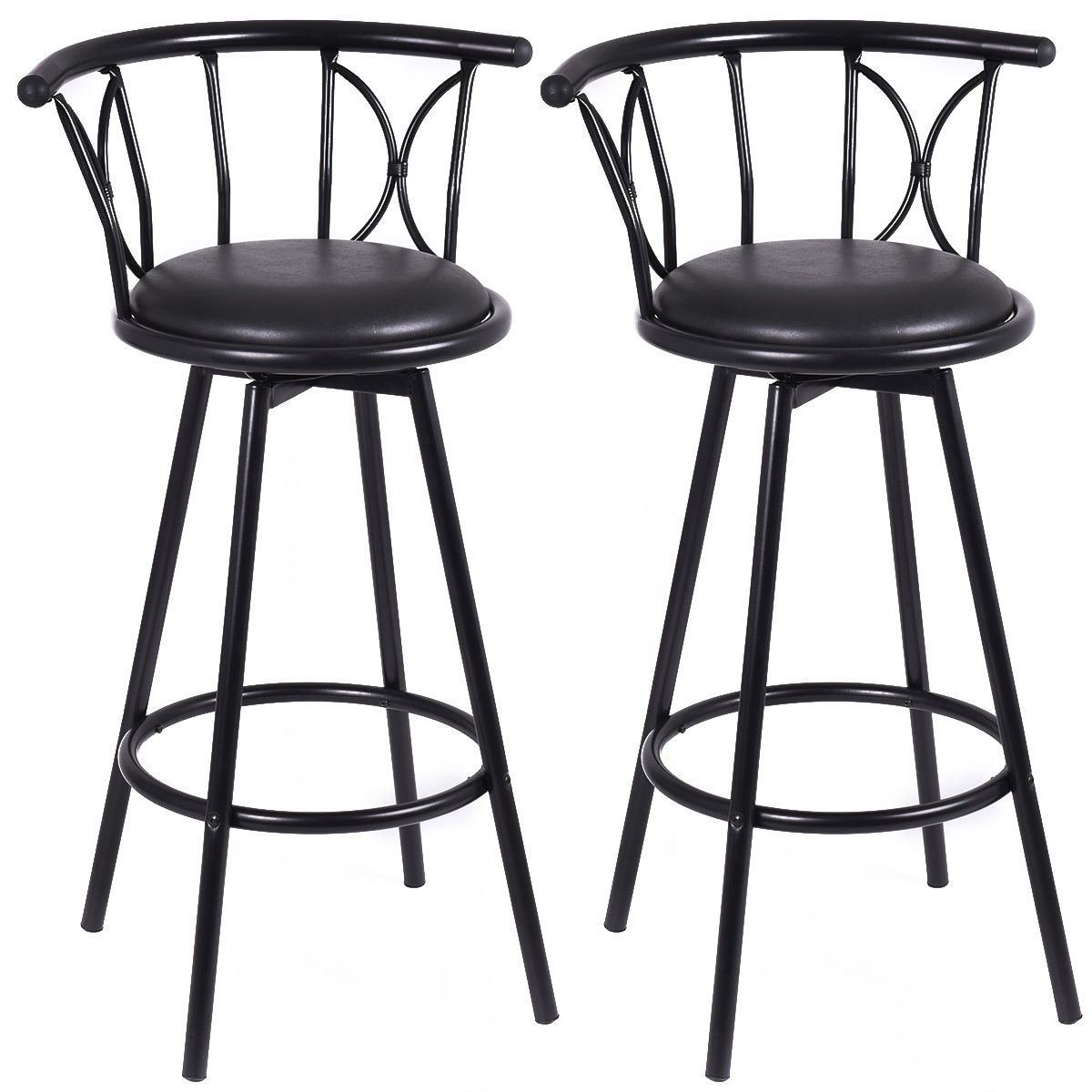MasterPanel - Set of 2 Black Barstools Modern Swivel Rotatable Chairs Steel Counter Height #TP3255