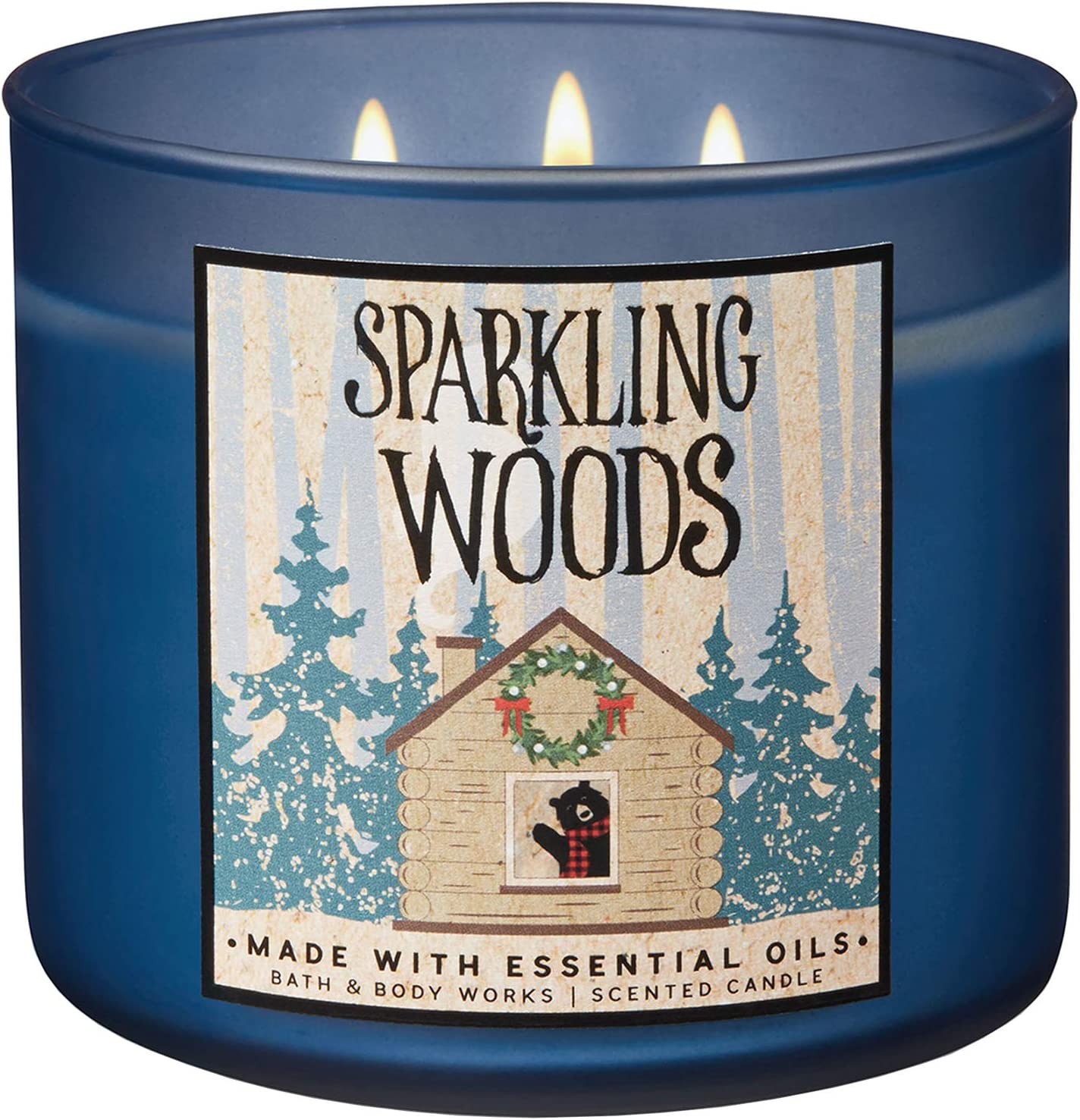 Blue Winter Sky Bath and Body Works 2018 Holiday Limited Edition 3-Wick Candle