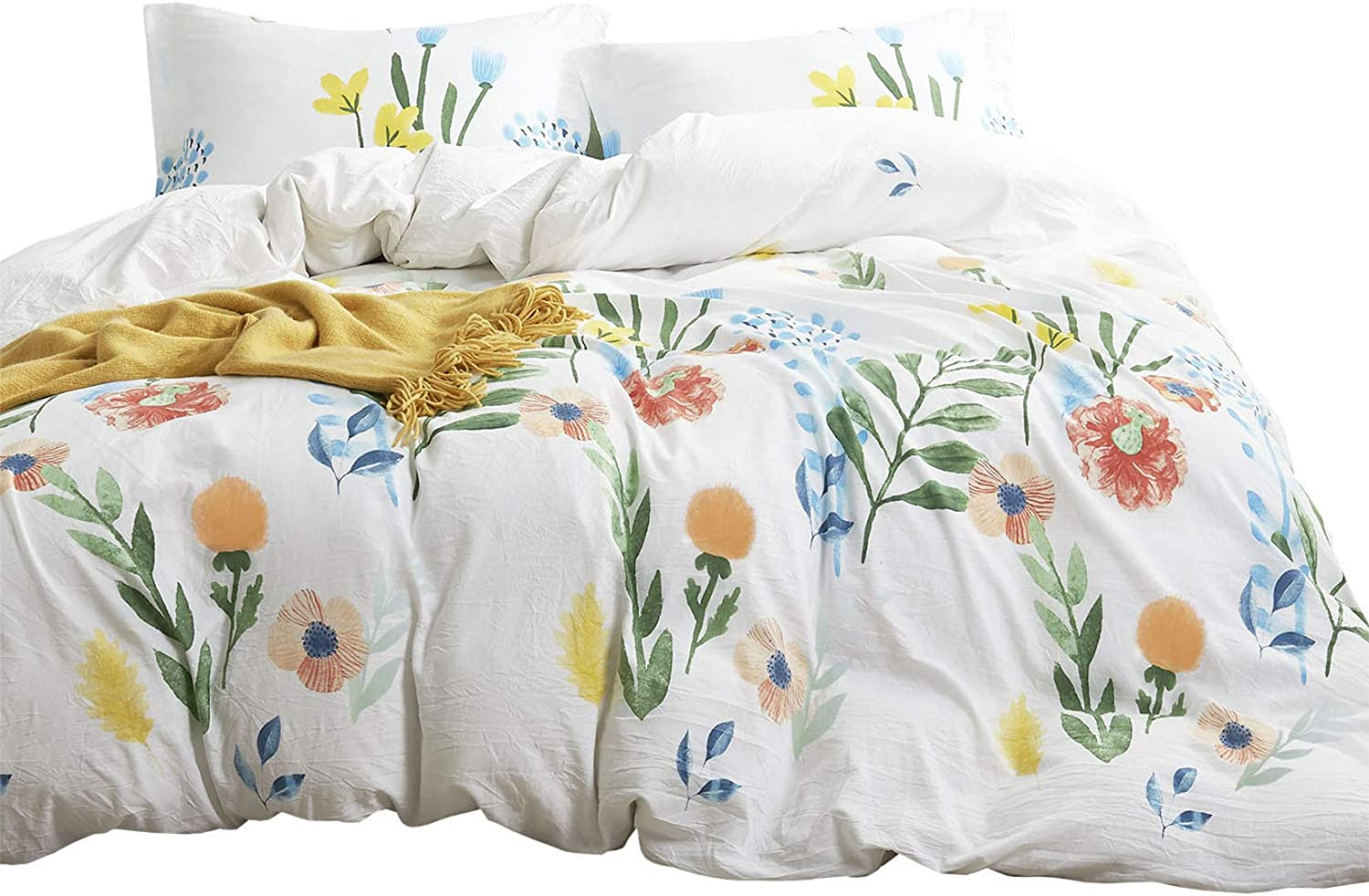 Wake In Cloud - Watercolor Comforter Set, Colorful Floral Leaves Flowers Painting Pattern Printed, 100% Cotton Fabric with Soft Microfiber Inner Fill Bedding (3pcs, Full Size)