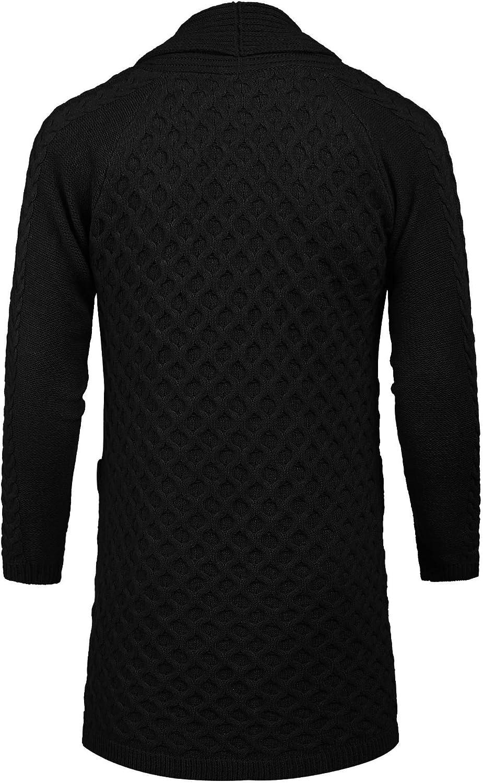 COOFANDY Mens Fashion Long Ruffle Knit Cardigan Lightweight Shawl Collar Sweater