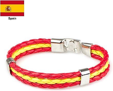 Leefi País Bandera pulsera de cuerda trenzado de aleación de pulsera de piel Para Hombre y para mujer brazalete pulsera 8.66
