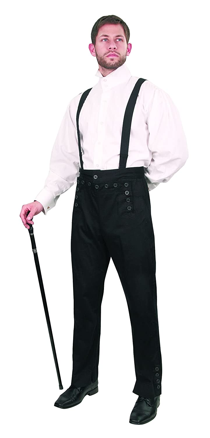 Museum Replicas Men's Steampunk Black Cotton Pants With 13 Button Flap Front & Suspenders
