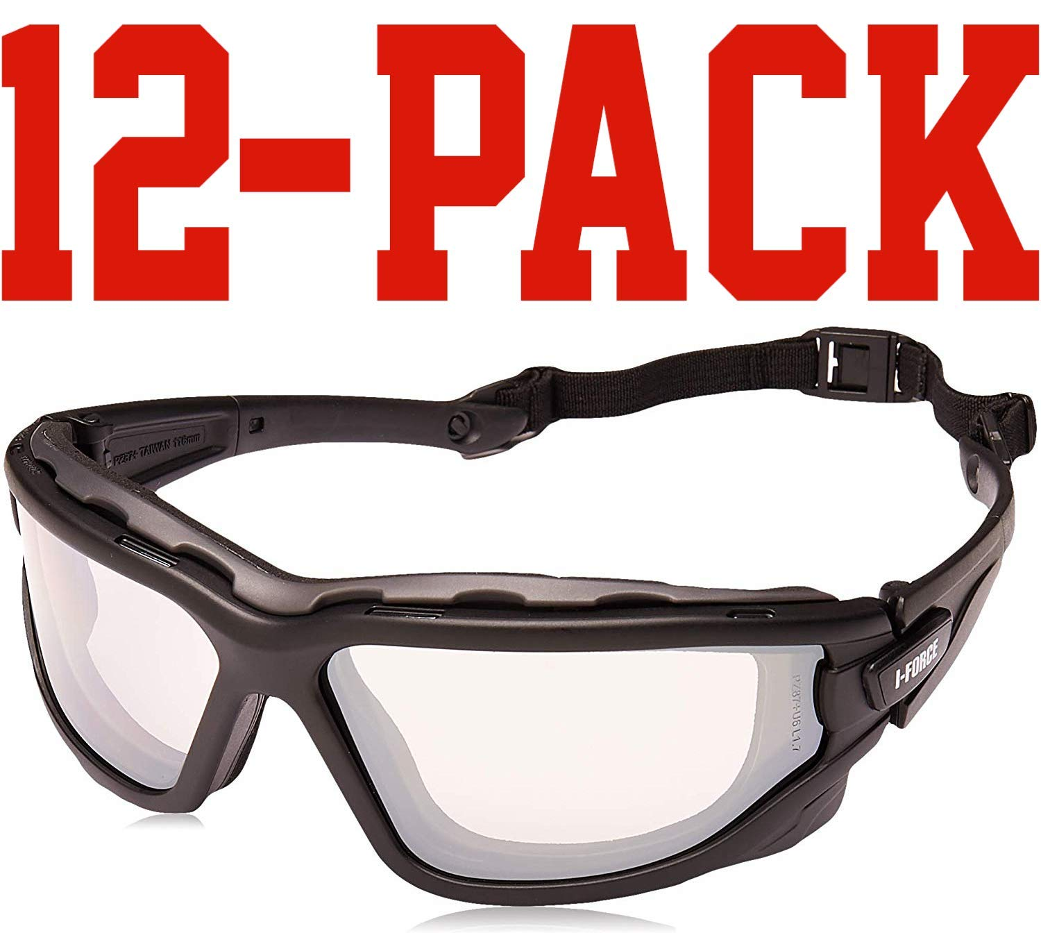 (12 Pair) Pyramex I-Force Glasses Black Strap-Temples/Indoor-Outdoor Mirror Anti-Fog Lens (SB7080SDT) by Pyramex Safety