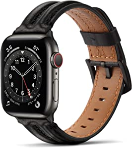 Tasikar Bands Compatible with Apple Watch Band 42mm 44mm, Genuine Leather Handmade Replacement Wristband Strap Compatible with iWatch SE Series 6 5 4 3 2 1 (42mm/44mm, Black)