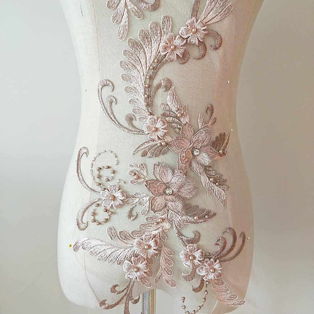 Dark Pink 3D Beaded Flower Sequence lace Applique Motif Sewing Bridal Wedding 3in1 20cmx72cm