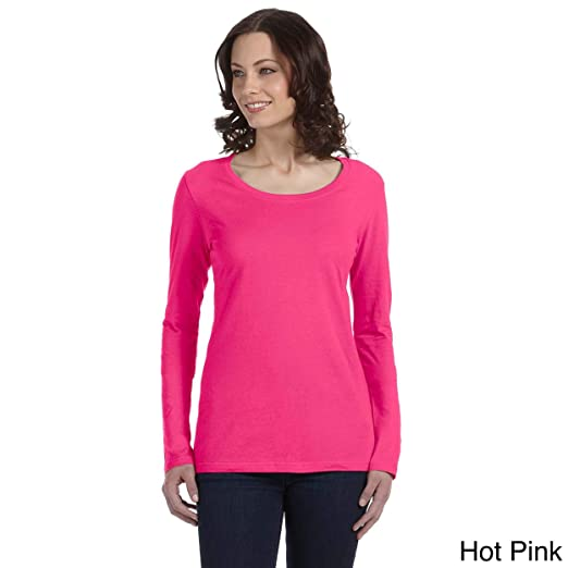 0dba5717 Image Unavailable. Image not available for. Color: Anvil Women's Sheer Long  Sleeve Scoop Neck T-shirt Hot ...