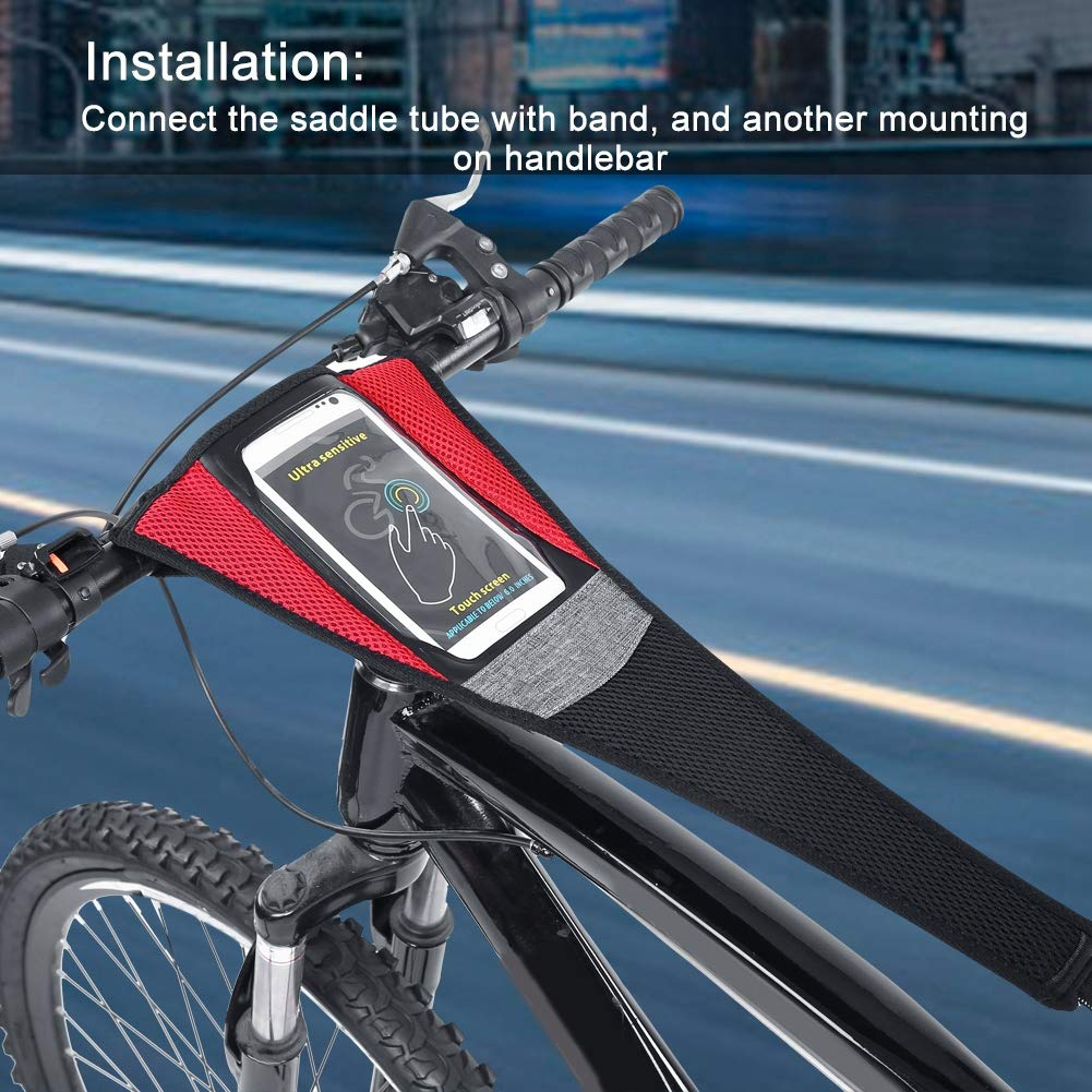 Road Bike Sweat Guard with Phone Pouch Road Bike Bicycle Trainer Sweatbands Sports Cycling Riding Sweat Tape Band for Bicycle Trainer Indoor Cycling Training