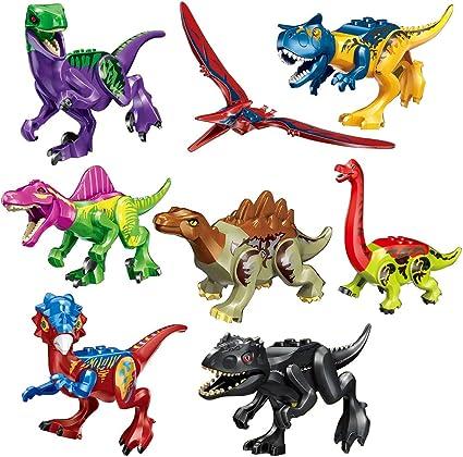 8Pcs//set Jurassic World Dinosaur Raptor Tyrannosaurus Figure Building Blocks US