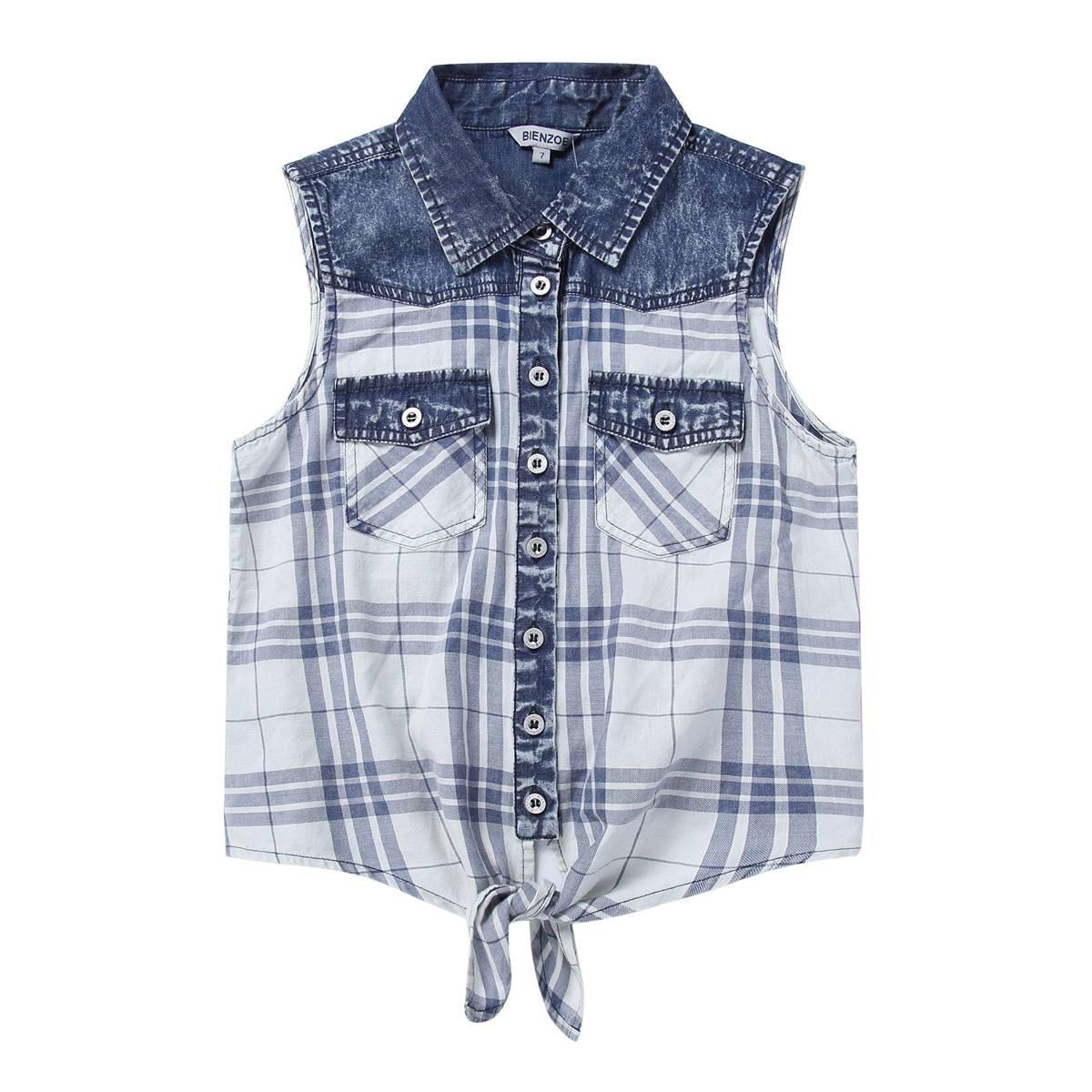 Bienzoe Girl's Plaid Denim Sleeveless Tie Front Blouse Casual Tank Tops Blue 7
