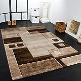 Edler Designer Teppich Konturenschnitt Kariert in Braun Beige Meliert, Grösse:160x230 cm