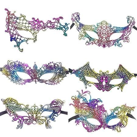 Skitior Transpirable 6 Piezas máscaras de Disfraces de Encaje ...