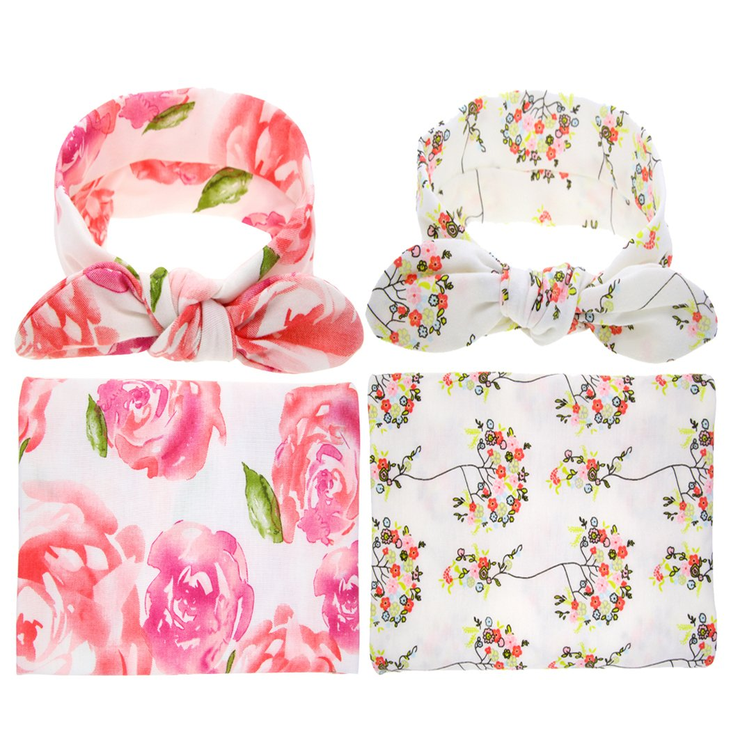 Thmyo Newborn Baby Swaddle Blanket Headband Set Flower Printed Receiving Blankets Bow Head wrap