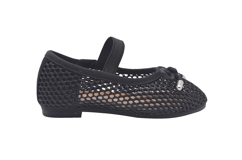 8c75ba569dec Amazon.com | bebe Toddler Girls Ballet Flats Glitter Mesh Slip On Sandals |  Ballet