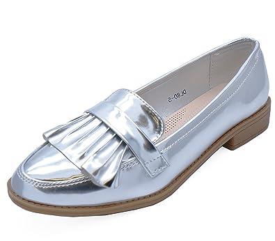 Damen Silber Halbschuhe Hineinschlüpfen Lässig Elegant Works Patent Bequeme Schuhe Größen 3-8 - Silbern, 38 HeelzSoHigh