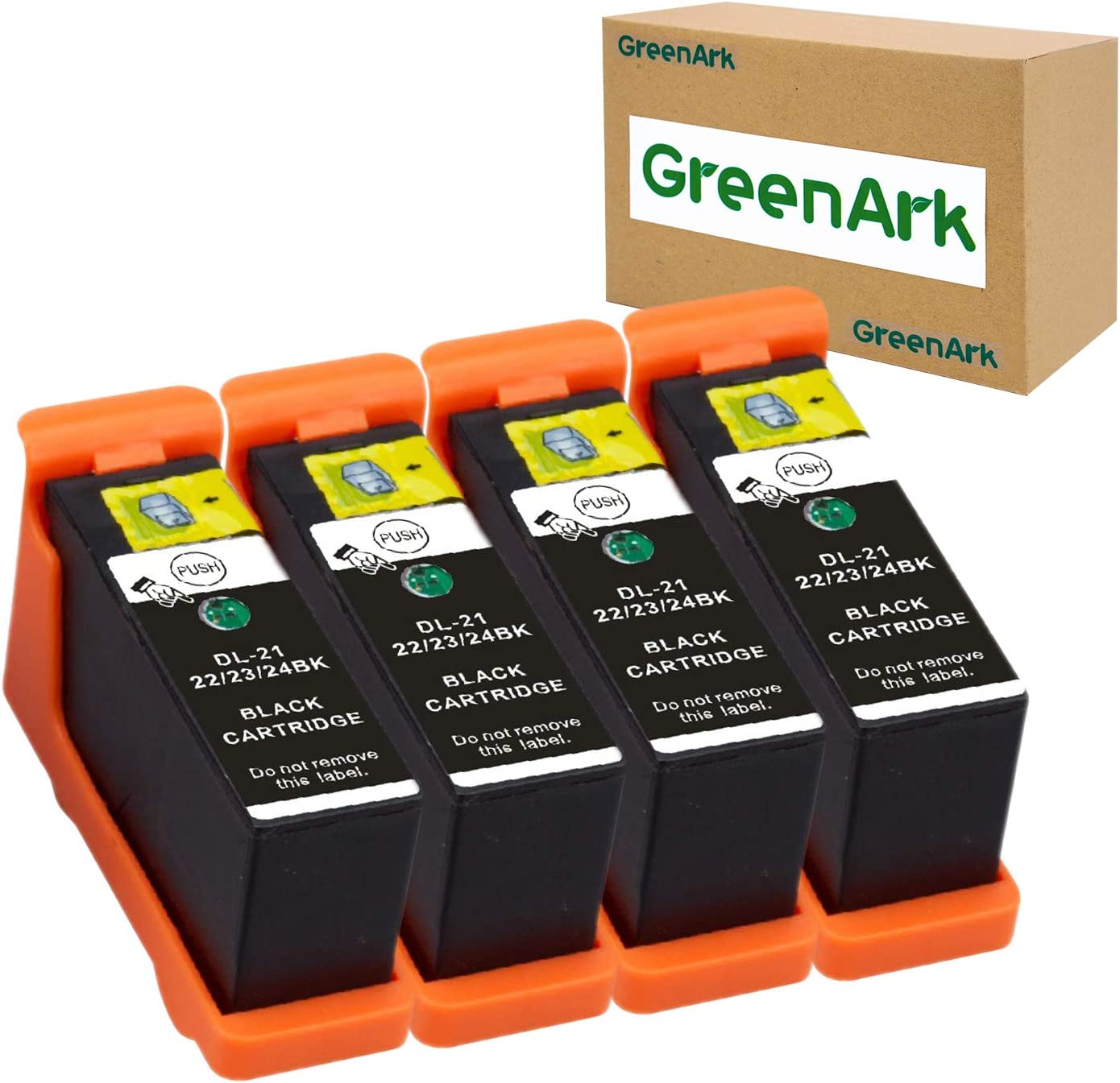 GREENARK Compatible for Dell Series 21 Black Ink Cartridges Use for Dell V313w V515w P513w V715w P713w Printers 4 Pack Black for Dell Series 21, Series 22, Series 23, Series 24 Ink Cartridges