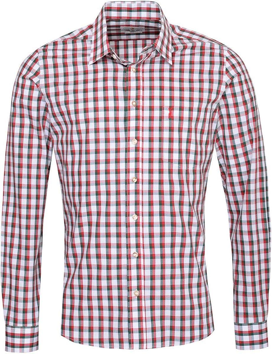 Almsach Otto Slim Fit - Camisa para traje regional de dos colores en rojo y verde oscuro, incluye buscador popular multicolor S: Amazon.es: Ropa y accesorios