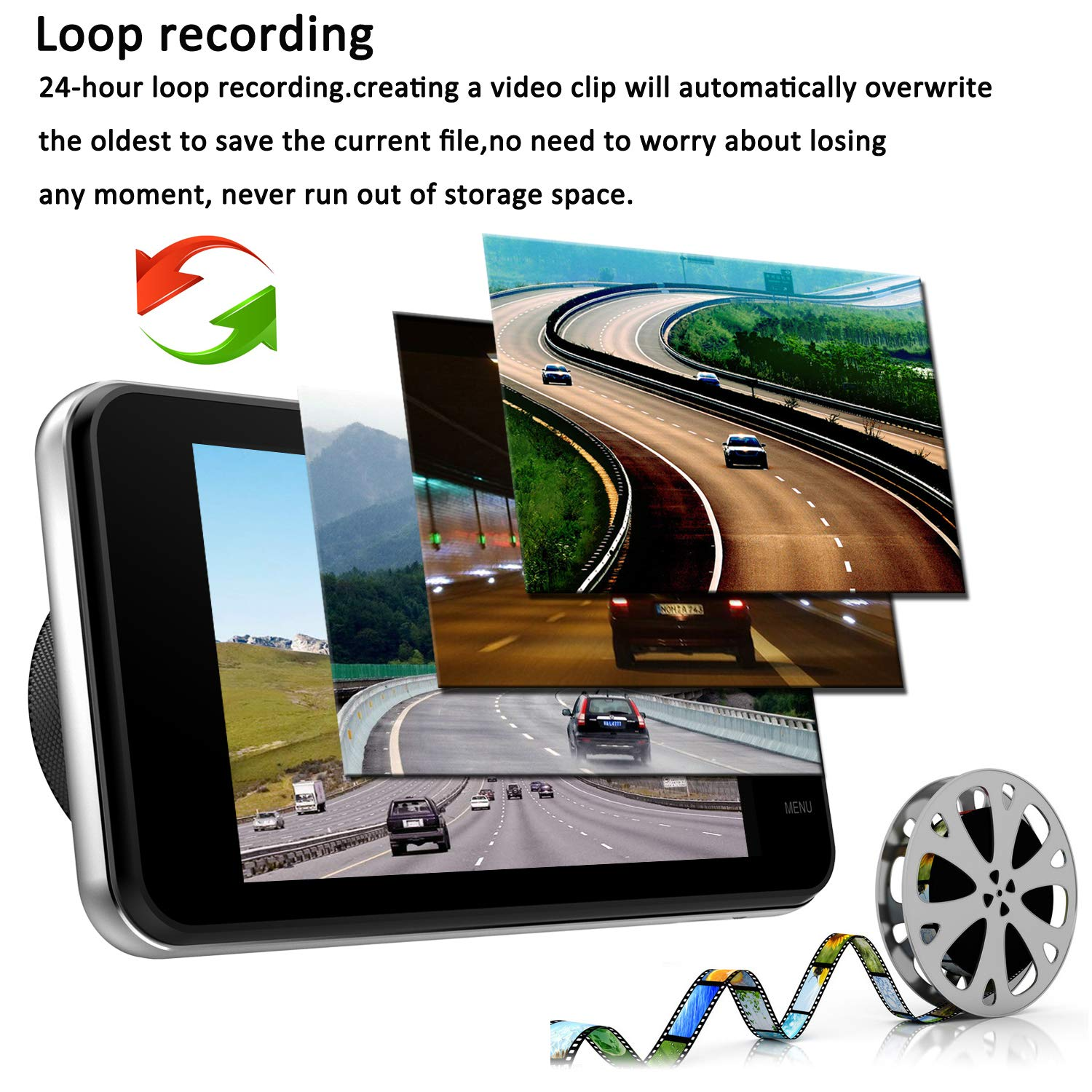 Dual Dash Cam Front and Rear, NINE CUBE 1080p HD Driving Recorder,Car DVR Dashboard Camera, 4'' IPS Screen, 170° Super Wide Angle, G Sensor, Loop Recording, Parking Monitor, Motion Detection by NINE CUBE (Image #5)