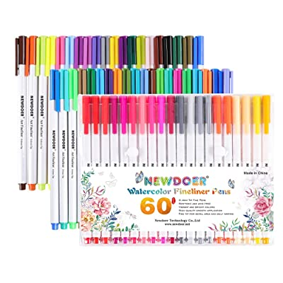 Coloriage Adulte Feutre Ou Crayon.Newdoer Lot De 60 Feutres Colores A Pointe Fine De 0 4 Mm Ideal
