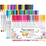 Newdoer 60 Packs Fine Line Coloured Pens- 0.4mm Fibre Tip Felt Tip Pens - Perfect for Adult Colouring Bullet Journaling and Note Taking
