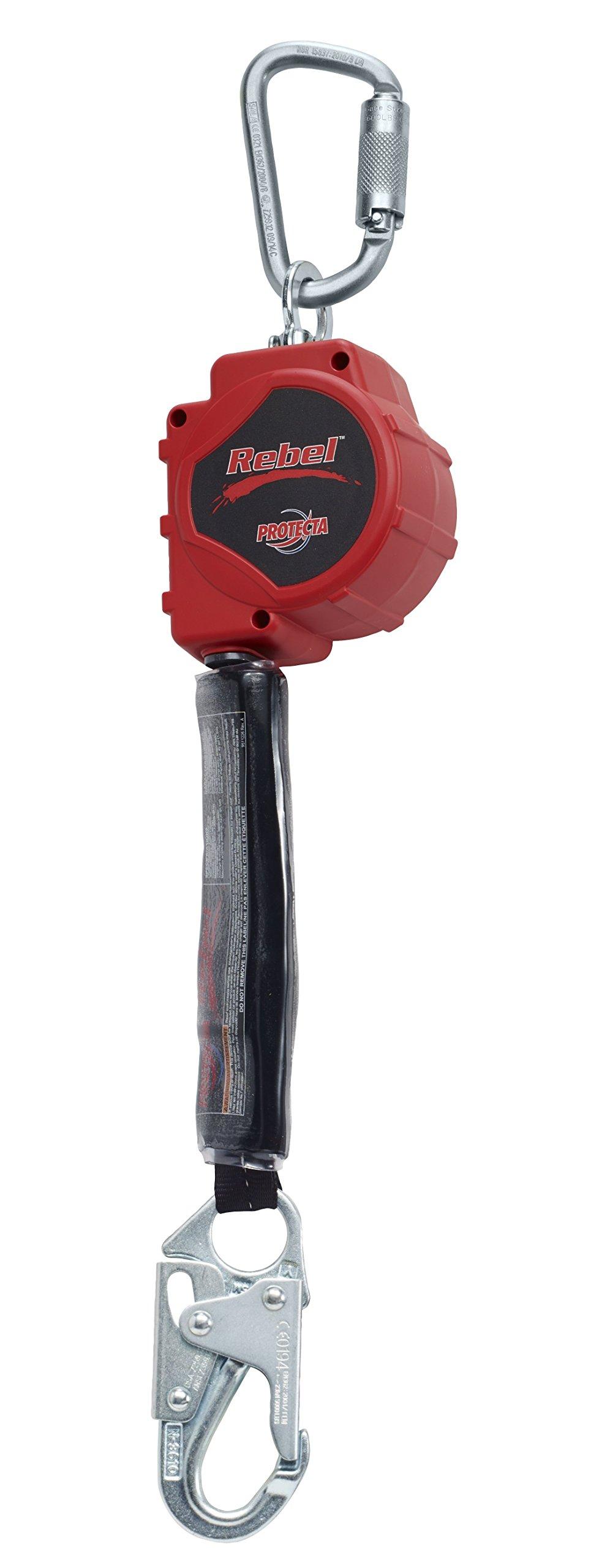 3M Protecta Rebel Self Retracting Lifeline, Steel Snap Hook & Carabiner, 11', 3100425