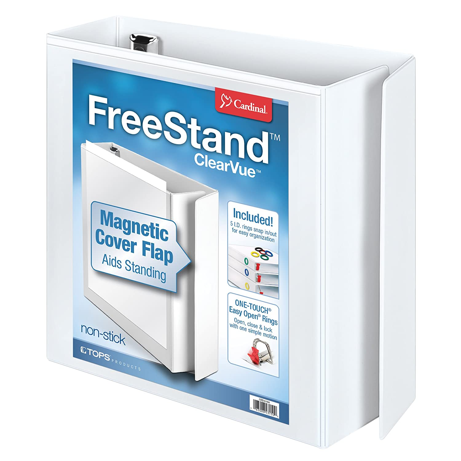 Cardinal FreeStand ClearVue Easy Open Locking Slant-D Ring Binder, 2-Inch, White (43120) Tops