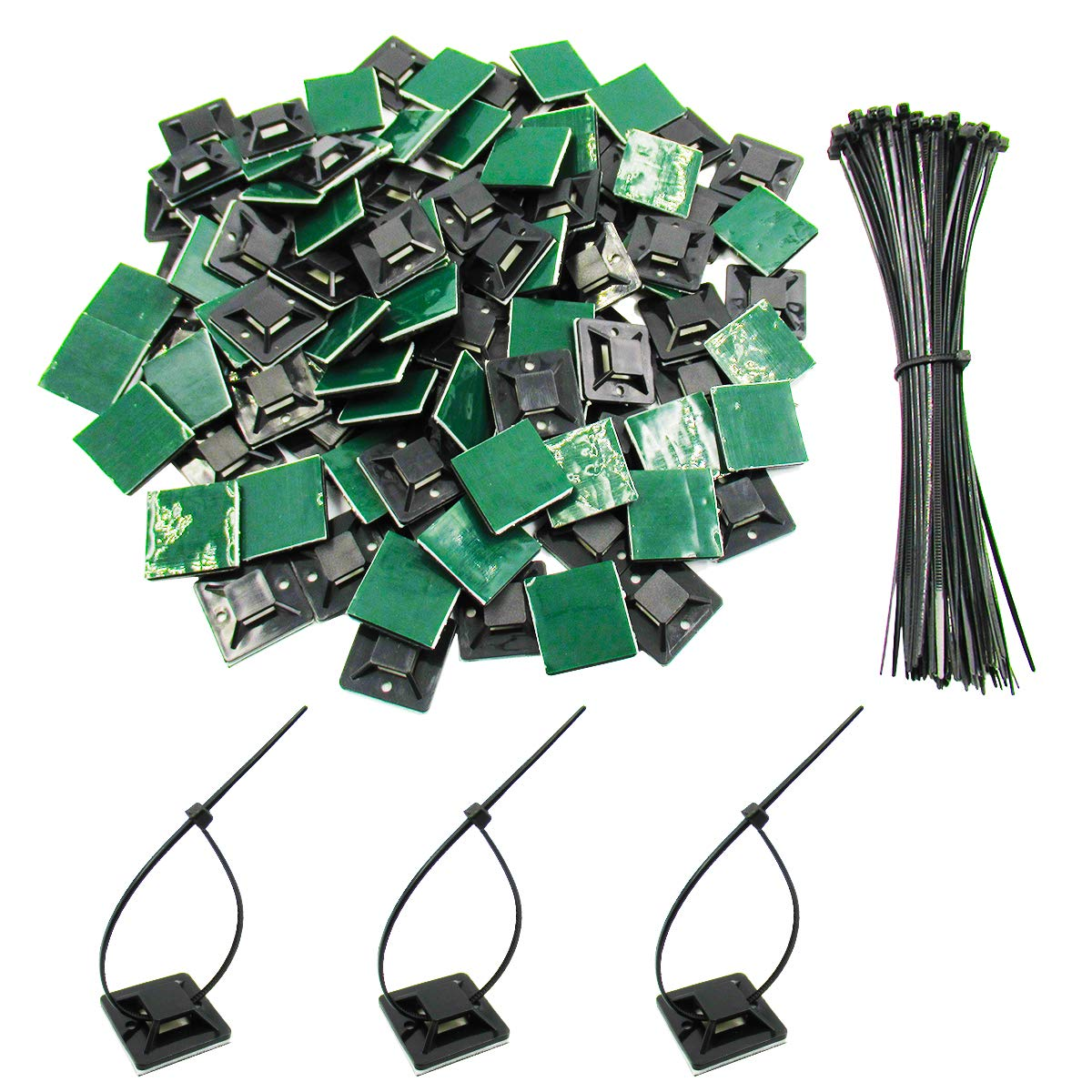 100 Pack Black Self Adhesive Cable Tie Mounts 1'x1' with 100 Pack Zip Ties for Secure Wires by V-Story