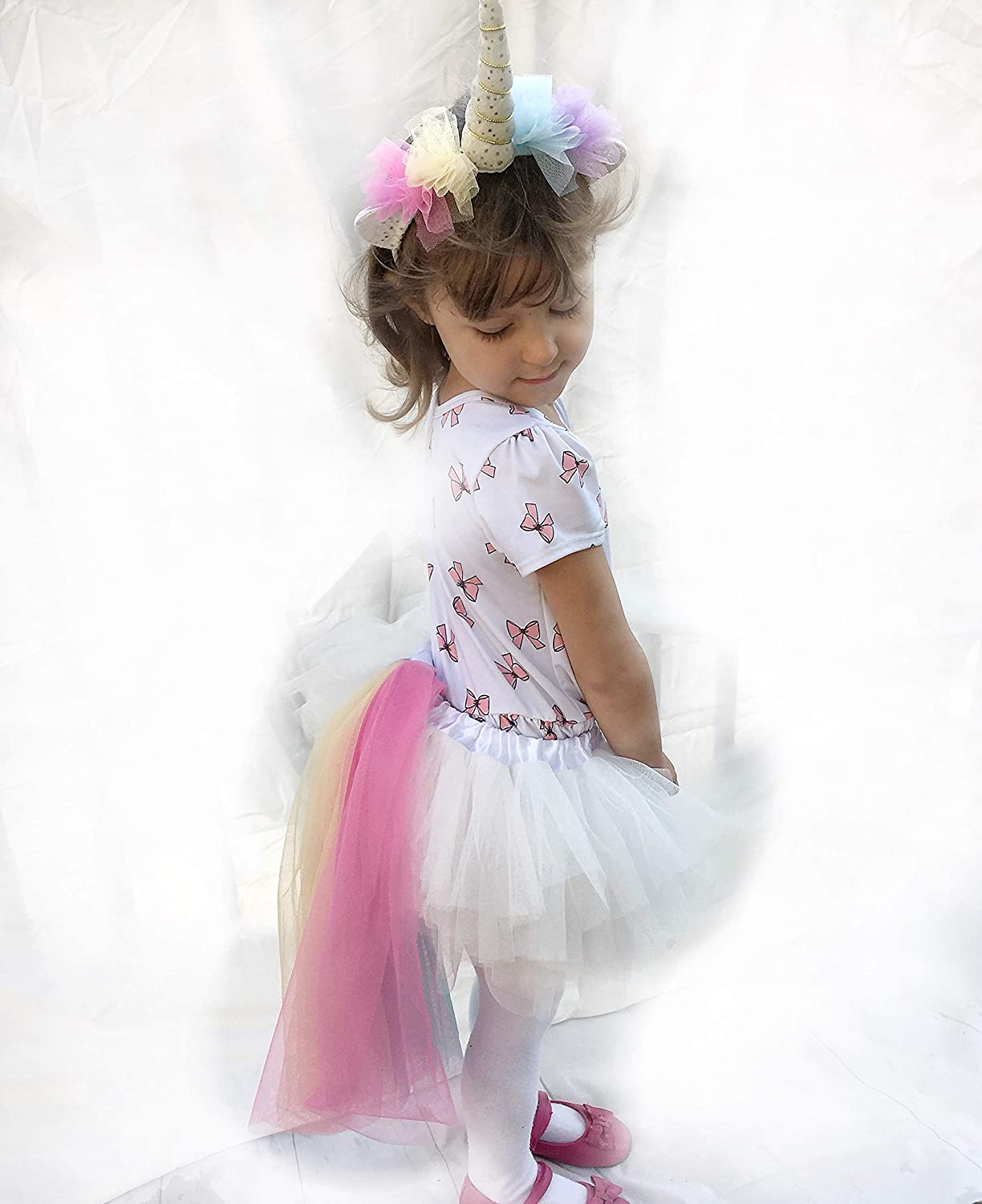 5951dc337d5 COMPLETE SET  White and rainbow colored tulle fabric unicorn horn headband  and tail set with a Unicorn Sticker. Included is a handy muslin fabric  unicorn ...