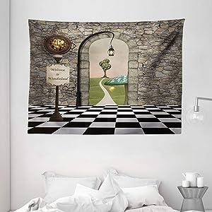 "Ambesonne Alice in Wonderland Tapestry, Welcome Wonderland Black and White Floor Landscape Mushroom Lantern, Wide Wall Hanging for Bedroom Living Room Dorm, 80"" X 60"", Black Green"