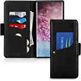 Toplive Galaxy Note 10 Case,Luxury Cowhide Genuine Leather Samsung Galaxy Note 10 Wallet Case with Kickstand,Black