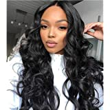 "Lace Front Wigs Wavy Synthetic Wigs for Black Women 24"" Heat Resistant Fiber Long Hair Curly Lace Frontal Wigs for Women Natural Black"