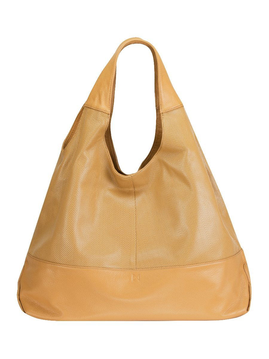 HALCYON Perforated Leather Triangular Tote-Style Shoulder Bag with Interior Zip Center Divide