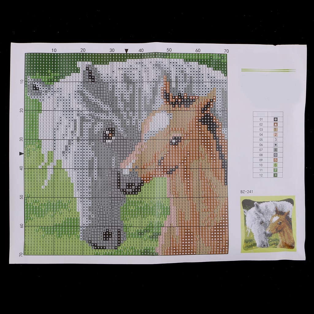 Animals Horses Latch Hook Rug Kit for Kids Children DIY Needlework Yarn Cushion Cover Embroidery Crafts