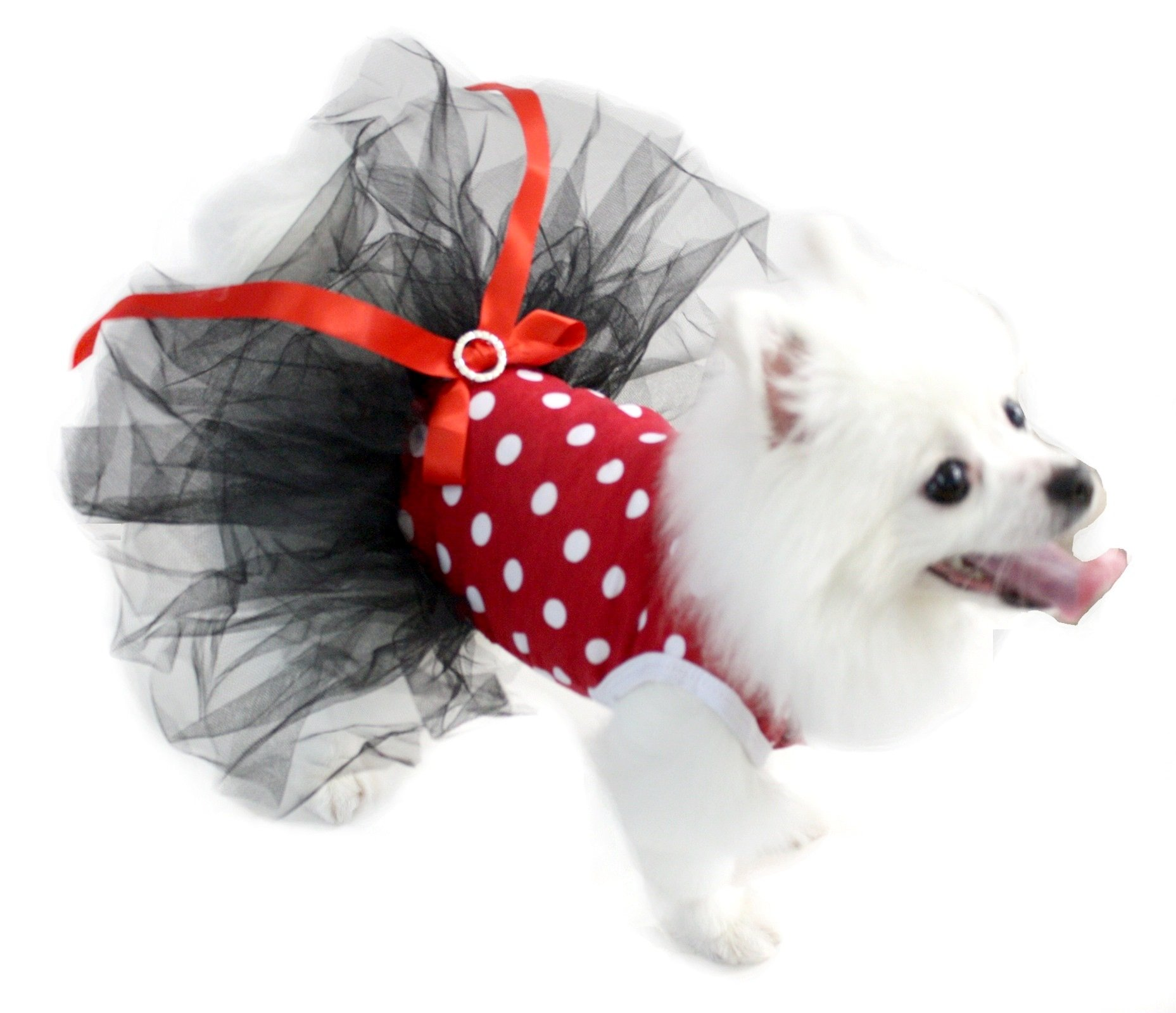 Puppy Clothes Dog Dress Red White Polka Dots Cotton Top Black Tutu Animal Wear (Small)
