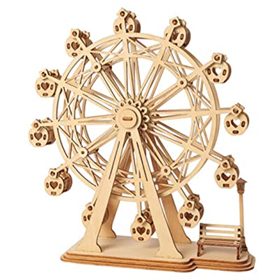 Rolife Ferris Wheel Wooden Puzzle Toy 3D Wooden Model Kits Architecture Kits Great Gifts for Boys,Girls,Women,Children,Adult: Toys & Games